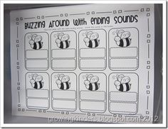 """""""Buzzing Around With Ending Sounds"""" (and other insect/bug themed activities)"""