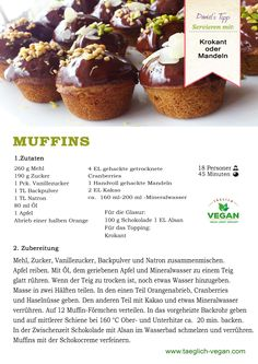 Muffins vegan Vegan Food, Vegan Recipes, Kakao, Breakfast, Desserts, Almonds, Vegane Rezepte, Apple, Backen