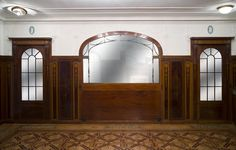 Exceptional antique Regency style complete paneled room in mahogany marquetry with fireplace, France century (Reference - Available at Galerie Marc Maison Classical Architecture, Interior Architecture, Fluted Columns, Art Decor, Decoration, Architectural Antiques, Marquetry, Stained Glass Windows, Wood Paneling