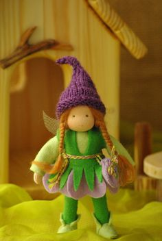 Elf doll - Lavender elf + wings - Unique Gift for kids - Waldorf doll as a gift - Fairy tale elf - Eco friendly Waldorf toys Waldorf Crafts, Waldorf Toys, Toys For Girls, Gifts For Girls, Doll Style, Unique Gifts For Kids, Elf Doll, Felt Fairy, Tiny Dolls
