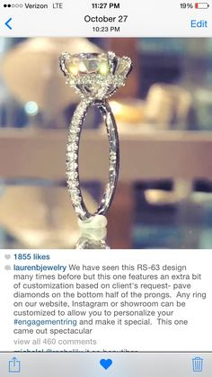 Lauren B jewelry. ITs a sign. This is exactly the ring I want. Sits up high, diamonds in the gallery and on the thicker band. My initials are L&B. Look at GOD!
