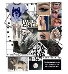 Wolf inside of me by dysfunctional-daydream on Polyvore featuring polyvore, fashion, style, Frye, Cool Shit and clothing