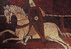 Mosaïques du prieuré clunisien Notre-Dame de Ganagobie (Alpes-de-Haute-Provence), vers 1120 : détail d'un chevalier s'élançant au combat.