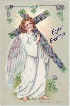 TUCK 112, Easter Greetings, Angel carrying flower covered cross, PU-1908