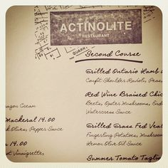 menu, actinolite restaurant in toronto