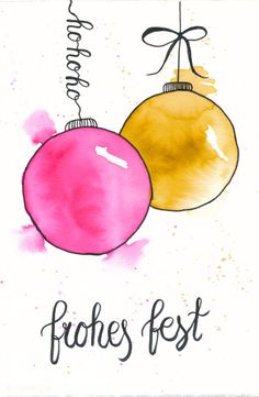 Make Christmas cards yourself – watercolor with water-color pencils and hand-let … - Diy Christmas Gifts Painted Christmas Cards, Diy Christmas Gifts For Family, Watercolor Christmas Cards, Christmas Cards To Make, Christmas Art, Vintage Christmas, Watercolor Cards, Watercolor Painting, Navidad Diy