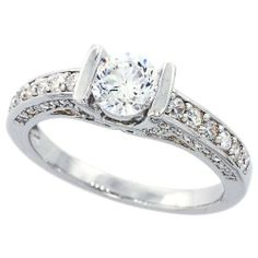 14K White Gold Rhodium Plated Sterling Silver Wedding & Engagement Ring Vintage Style Solitaire Ring For Women 5.5MM ( Size 6 to 9) Double Accent. $39.99