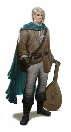 Human Male Bard - Pathfinder PFRPG DND D&D d20 fantasy
