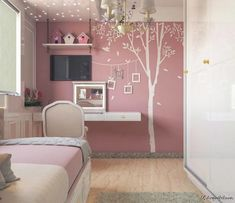 12 Young and Fresh Bedroom Design Ideas for Teens Small Room Bedroom, My Room, Girls Bedroom, Bedroom Crafts, Bedroom Decor, Home Ceiling, Girl Bedroom Designs, Minimalist Room, Little Girl Rooms