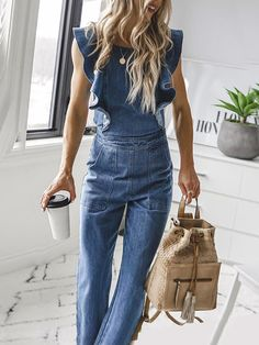 Sum All Chic, Shop Light Blue Ruffle Pockets Tie Back High Waisted Backless Long Jumpsuit online. Jumpsuit Outfit, Denim Jumpsuit, Dungarees, Combi Jean, Jumpsuit Elegante, Denim Fashion, Fashion Outfits, Looks Jeans, Estilo Jeans