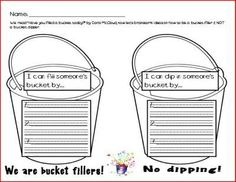 Bucket filler worksheet