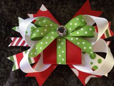 Christmas Hair Bow by LilLolasChicBoutique on Etsy, $4.00