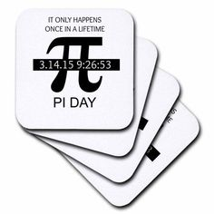 3dRose Pi Day Once in a lifetime, Soft Coasters, set of 4