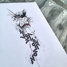 Geometric trash polka abstract architecture tattoo design