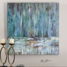 Kaufen Sie Uttermost Blue Waterfall Art - Painting n Drawing Trends Waterfall Paintings, Figurative Kunst, Hand Painted Canvas, Blue Canvas Art, Original Paintings, Art Paintings, Modern Paintings, Watercolor Paintings, Painting Inspiration