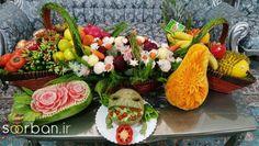 تزیین و میوه آرایی سفره شب یلدا عروس جدید-15 Watermelon Sticks, Sushi, Succulents, Japanese, Ethnic Recipes, Food, Japanese Language, Essen, Succulent Plants