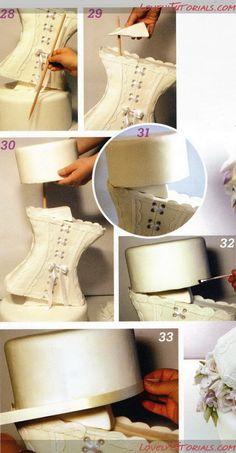 МК Свадебный торт Корсет -Сorset Wedding cake tutorial - Мастер-классы по украшению тортов Cake Decorating Tutorials (How To's) Tortas Paso a Paso