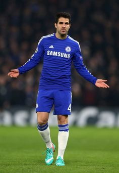 Cesc Fabregas of Chelsea reacts during the UEFA Champions League group G match between Chelsea and Sporting Clube de Portugal at Stamford Bridge on December 10, 2014 in London, United Kingdom.