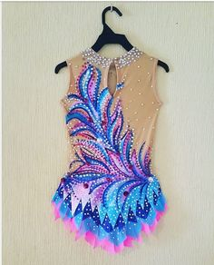 Beautiful designer rhythmic gymnastics leotard handmadeDesign drawing on fabric acrylic paints, sleeveless and no stones. Gymnastics Leos, Gymnastics Outfits, Gym Leotards, Rhythmic Gymnastics Leotards, Blue Leotard, Synchronized Swimming, Figure Skating Dresses, Dance Outfits, Dance Costumes