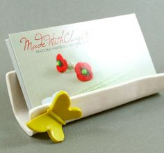 Hand Sculpted Business Card Holder - Yellow Butterfly Miniature Polymer Clay Animal. $20.00, via Etsy.