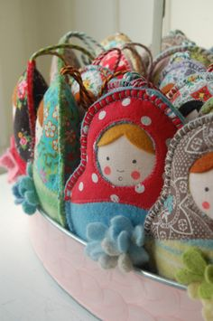 Matrioshka/Babushka or nesting dolls. I'm looking for a really pretty set of these type of dolls to put on a shelf. I so like these. They remind me of motherhood.