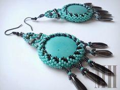 Turkusowe kolczyki z howlitem | MH Biżuteria - cuda ręcznie wykonane