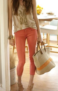 Watermelon skinny jeans with neutral colored top