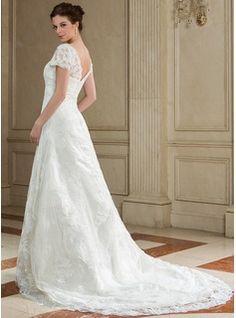 Forme Princesse Encolure carrée Cour Train Organza Robe de mariée avec Dentelle Emperler (002012689) - JJsHouse