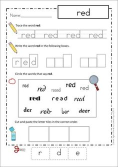 Sight Words - Cut and Paste Worksheets (Color Words). Love this style of worksheet for children with short attention spans! Each task is simple and quite quick and focuses on the same word. No boring, repetitive work!