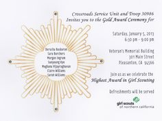 Invitation for the Girl Scout Gold Award