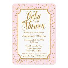 #glitter - #Pink & Gold Confetti Baby Shower Invitation