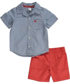 Carter's Baby Boys Chambray Top & Canvas Shorts Set (newborn)