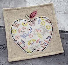 Handmade White Apple & Flowers Linen Fabric Drink Coaster - Embroidered Applique by The Cornish Coaster Company on Gourmly