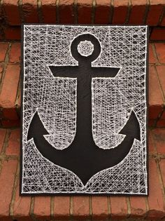Anchor string art black painted board with white string 18 x 24 made by Magnolia Design Anchor String Art, Nail String Art, String Crafts, Cute Crafts, Diy And Crafts, Arts And Crafts, Arte Linear, Cuadros Diy, Deco Marine