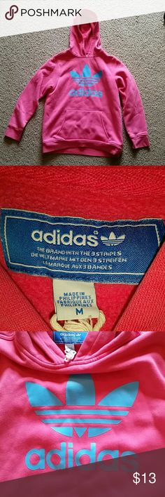 Girls Adidas size M hoodie Girls Adidas size M pink and baby blue hoodie Adidas Shirts & Tops Sweatshirts & Hoodies