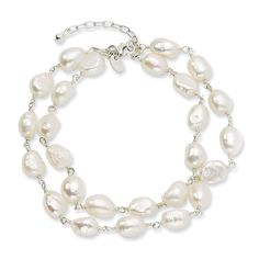 Sterling Silver Double Strand White Freshwater Cultured Pearl Bracelet - 8.5 Inch >>> Continue to the product at the image link.