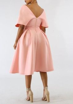 Pink Pleated Off Shoulder Backless High Waisted Banquet Formal Party Midi Dress Latest African Fashion Dresses, African Dresses For Women, African Print Fashion, African Attire, Edgy Dress, Classy Dress, Classy Outfits, Elegant Dresses, Beautiful Dresses