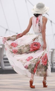 Garden party formal - flowy and light with a bold rose pattern