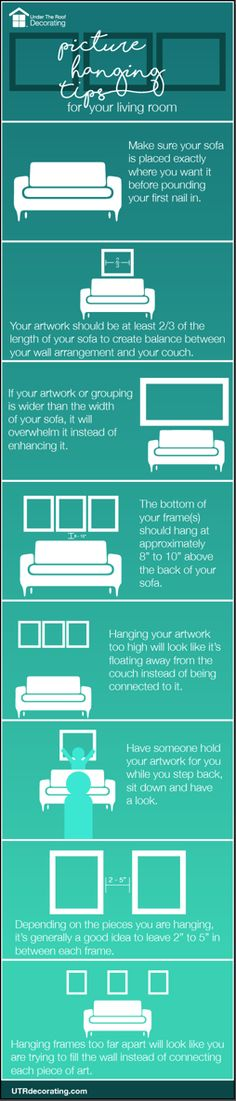 Top tips for hanging pictures in the livingroom.
