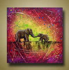 Bright Mom and Baby Elephant Painting Purple and by BrittsFineArt