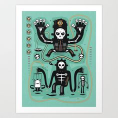 Chamanistik in blue Art Print by Exit Man - $17.68
