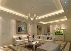 living room ceiling design ideas suspended ceiling hidden lighting crystal chandelier