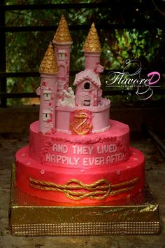 Pink and gold Castle Wedding cake with reef knot and happily ever after quote