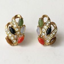Vintage gold plated post and push backs earrings with round white rhi... Lot 401