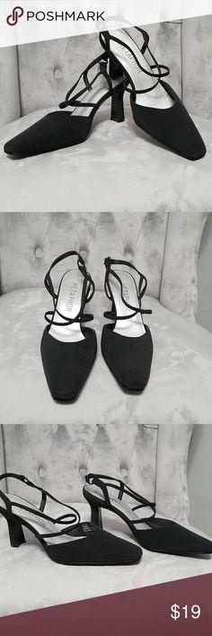 Metaphor black  mid-high heel shoes Black fabric mid-high heel,closed toe. One time worn only .no box Metaphor Shoes Heels