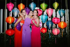 Multicoloured lanterns for a beautiful backdrop  #weddingdesign #vietnambeachweddings #hoianeventsweddings #beachwedding #destinationwedding