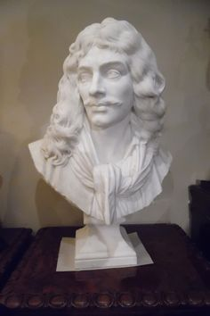 19th century Marble Bust of Moliere