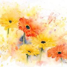 size: Stretched Canvas Print: Gerbera by Rachel McNaughton : Using advanced technology, we print the image directly onto canvas, stretch it onto support bars, and finish it with hand-painted edges and a protective coating. Painting Edges, Watercolour Painting, Watercolor Flowers, Watercolors, Stretched Canvas Prints, Flower Art, Giclee Print, Art Prints, Drawings
