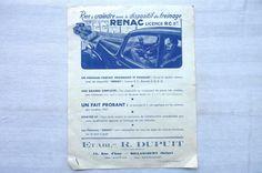 RENAC Rien à craindre avec le dispositif de FREINAGE    / REF 01 in Collections, Objets publicitaires, Publicités papier, Autos, tracteurs | eBay