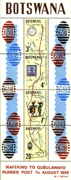 The runner post between Mafeking and Gubulawayo is commemorated with this minisheet issued in 1972 to mark the 84th anniversary of the post in Botswana.via danstopicals.com